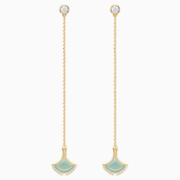 18K YG Lucky Gingko Drop Earrings - Swarovski, 5401194