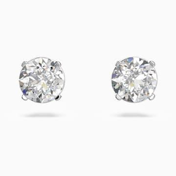 Attract Round 穿孔耳環, 白色, 鍍白金色 - Swarovski, 5408436