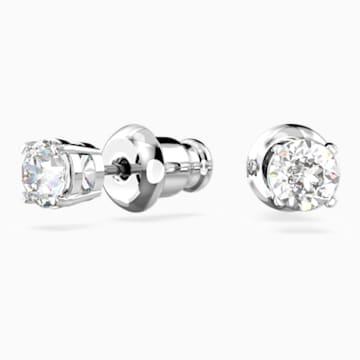 Attract Round İğneli Küpeler, Beyaz, Rodyum kaplama - Swarovski, 5408436