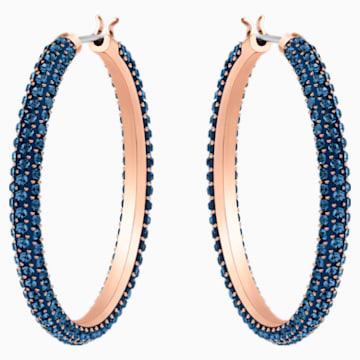 Stone Hoop Pierced Earrings, Blue, Rose-gold tone plated - Swarovski, 5408459