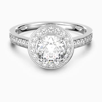 Anello Attract Round, bianco, Placcatura rodio - Swarovski, 5409189