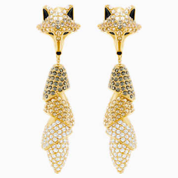 March Fox Pierced Earrings, Multi-colored, Gold-tone plated - Swarovski, 5409357