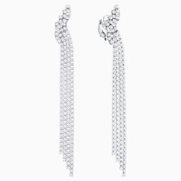 Fit Clip Earrings, White, Ruthenium plated - Swarovski, 5409450