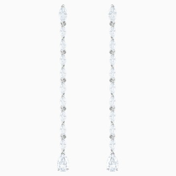 Louison Pierced Earrings, White, Rhodium plated - Swarovski, 5409732