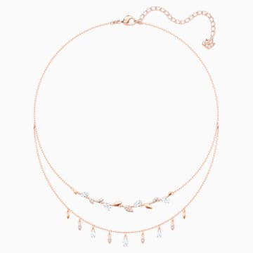 Mayfly Necklace, White, Rose-gold tone plated - Swarovski, 5410412