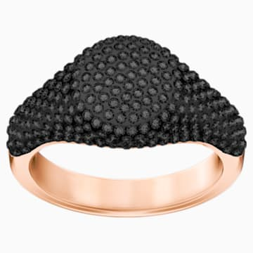 Stone Signet Ring, Black, Rose-gold tone plated - Swarovski, 5412010
