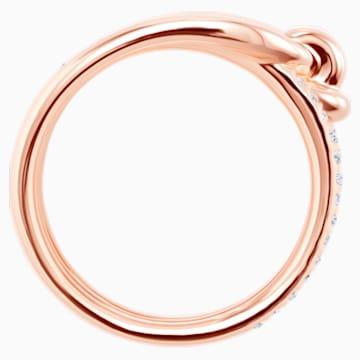 Anillo ancho Lifelong, blanco, Baño en tono Oro Rosa - Swarovski, 5412021