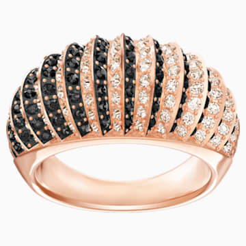 Luxury Domed Ring, Black, Rose-gold tone plated - Swarovski, 5412049