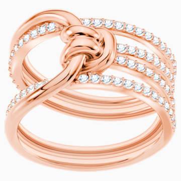 Anillo ancho Lifelong, blanco, Baño en tono Oro Rosa - Swarovski, 5412071