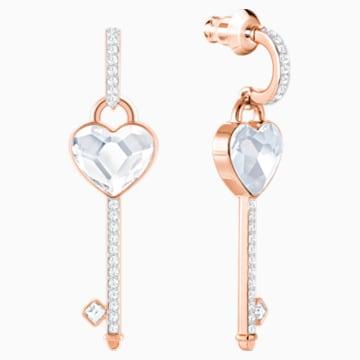 Melt Your Heart Key 穿孔耳環, 白色, 鍍玫瑰金色調 - Swarovski, 5412410