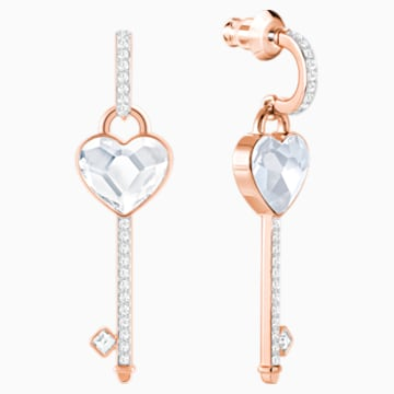 Melt Your Heart Key Pierced Earrings, White, Rose-gold tone plated - Swarovski, 5412410