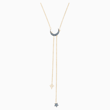 Collier en Y Swarovski Symbolic Moon, bleu, Finition mix de métal - Swarovski, 5412630