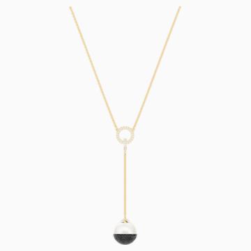 Maxi Y形項鏈, 黑色, 鍍金色色調 - Swarovski, 5412677