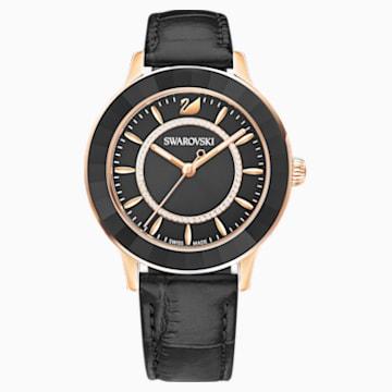 Octea Lux 腕表, 真皮表带, 黑色, 玫瑰金色调 PVD - Swarovski, 5414410