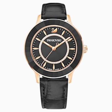 Reloj Octea Lux, Correa de piel, negro, PVD en tono Oro Rosa - Swarovski, 5414410