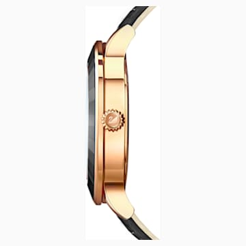 Octea Lux-horloge, Leren horlogebandje, Zwart, Roségoudkleurig PVD - Swarovski, 5414410