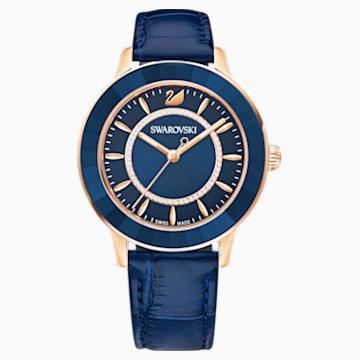 Octea Lux-horloge, Leren horlogebandje, Blauw, Roségoudkleurig PVD - Swarovski, 5414413