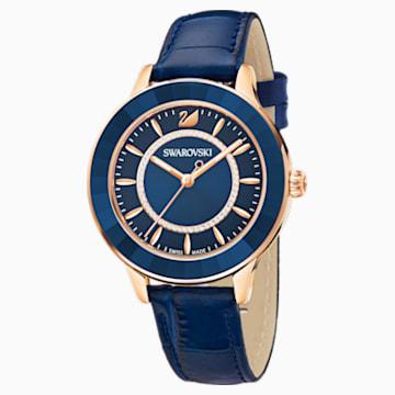 Montre Octea Lux, Bracelet en cuir, bleu, PVD doré rose - Swarovski, 5414413