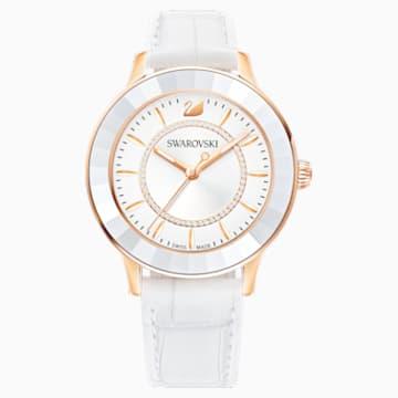 Reloj Octea Lux, Correa de piel, blanco, PVD en tono Oro Rosa - Swarovski, 5414416