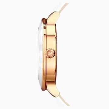 Zegarek Octea Lux, pasek ze skóry, biały, powłoka PVD w odcieniu różowego złota - Swarovski, 5414416
