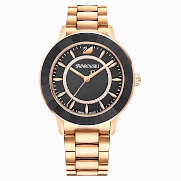 Ceas Octea Lux, brățară metalică, neagră, nuanță de aur roz aplicată prin depunere fizică de vapori - Swarovski, 5414419