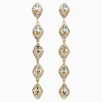 Moselle Mini Drop Pierced Earrings, Gold-tone plated - Swarovski, 5414435