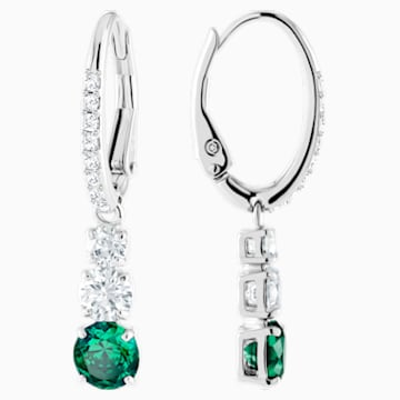 Attract Trilogy Round Pierced Earrings, Green, Rhodium plated - Swarovski, 5414682
