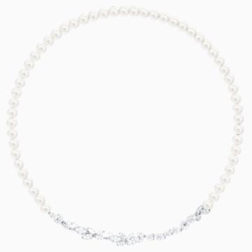 Louison Pearl 项链, 白色, 镀铑 - Swarovski, 5414693