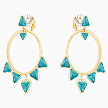 Labyrinth Hoop Clip Earrings, Multi-coloured, Gold-tone plated - Swarovski, 5415711