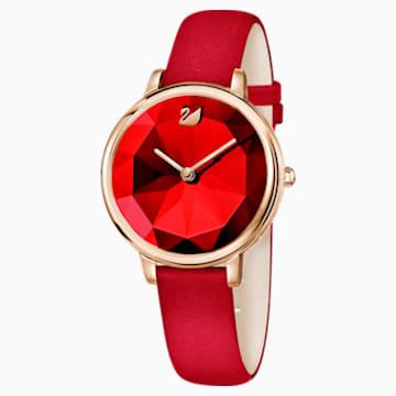Crystal Lake 手錶, 真皮錶帶, 紅色, 玫瑰金色調PVD - Swarovski, 5415999