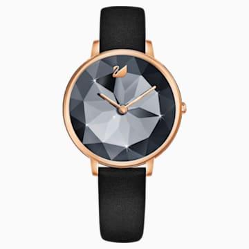 Crystal Lake Uhr, Lederarmband, schwarz, Rosé vergoldetes PVD-Finish - Swarovski, 5416009