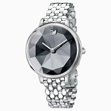 Crystal Lake Watch, Metal bracelet, Dark grey, Stainless steel - Swarovski, 5416020