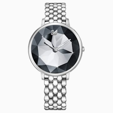Crystal Lake Watch, Metal bracelet, Dark Gray, Stainless steel - Swarovski, 5416020