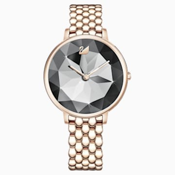 Crystal Lake Uhr, Metallarmband, dunkelgrau, Champagne vergoldetes PVD-Finish - Swarovski, 5416026