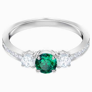 Anillo Attract Trilogy Round, verde, Baño de Rodio - Swarovski, 5416151