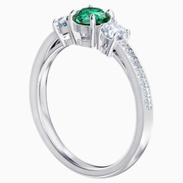 Attract Trilogy Round 戒指, 綠色, 鍍白金色 - Swarovski, 5416151