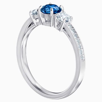 Attract Trilogy Round-ring, Blauw, Rodium-verguld - Swarovski, 5416152