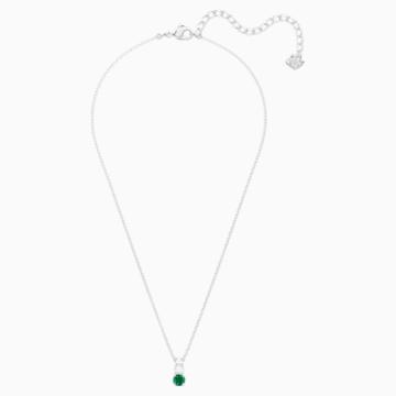 Colgante Attract Trilogy Round, verde, Baño de Rodio - Swarovski, 5416153