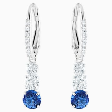 Attract Trilogy Round Pierced Earrings, Blue, Rhodium plated - Swarovski, 5416154