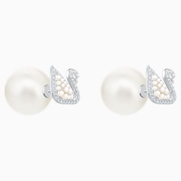 Iconic Swan 耳钉, 白色, 镀白金色 - Swarovski, 5416591