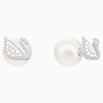 Boucles d'oreilles clous Iconic Swan, blanc, métal rhodié - Swarovski, 5416591