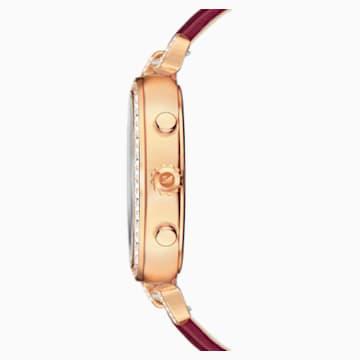 Era Journey Uhr, Lederarmband, dunkelrot, Rosé vergoldetes PVD-Finish - Swarovski, 5416701
