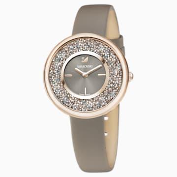 Montre Crystalline Pure, Bracelet en cuir, PVD doré champagne - Swarovski, 5416704