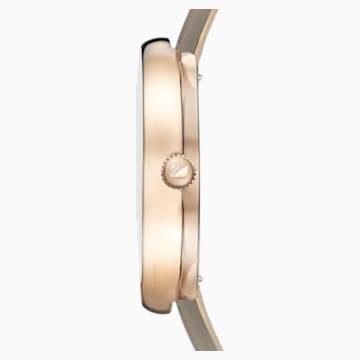 Crystalline Pure Uhr, Lederarmband, Champagne vergoldetes PVD-Finish - Swarovski, 5416704