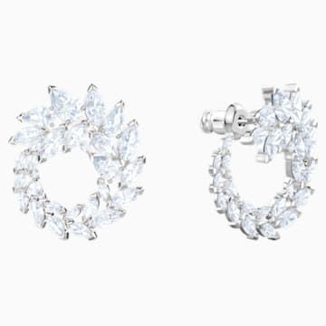 Louison Earrings, White, Rhodium plated - Swarovski, 5419245
