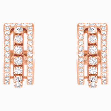 Further Pierced Earrings, White, Rose-gold tone plated - Swarovski, 5419852