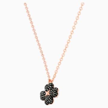 Colgante Latisha Flower, negro, Baño en tono Oro Rosa - Swarovski, 5420246