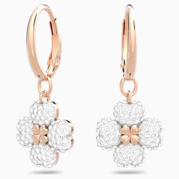 Latisha 穿孔耳環, 白色, 鍍玫瑰金色調 - Swarovski, 5420249