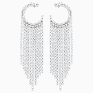 Fit Hoop Pierced Earrings, White, Rhodium plated - Swarovski, 5421821