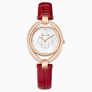 Stella Watch, Leather strap, Red, Rose-gold tone PVD - Swarovski, 5421822